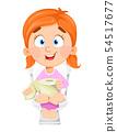 Girl in toilet. Cute kid in WC 54517677
