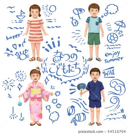Summer children illustration set 54518704