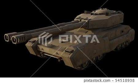 Future Super-Heavy Tank Isolated on Black, Front 54518938