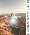 Spaceship Flying Over a Red Desert Planet 54518940