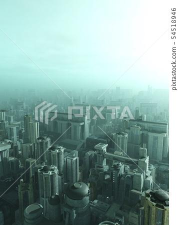 Future City Skyline in Blue Haze or Smog 54518946