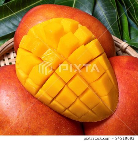 芒果 水果 切丁 切塊 新鮮 夏天 夏季 台灣 Fresh Mango sliced dice co 54519092