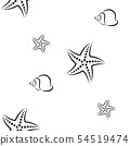 Starfish and shell. Pattern. Seamless vector illustration. Art Line. Flat. 54519474