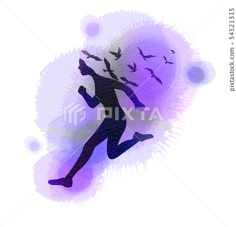 Watercolor of  woman jumping with flying birds 54521315
