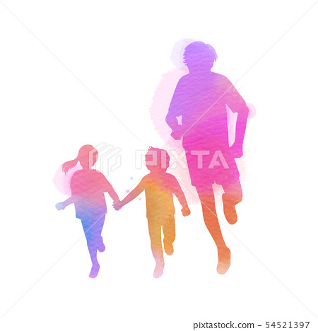 Happy family running silhouettes watercolor. 54521397