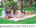 Asian grandparents and granddaughter 54521551