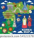 Korea map vector korean characters culture traditional symbols sightseeing landmark traveling in 54521578