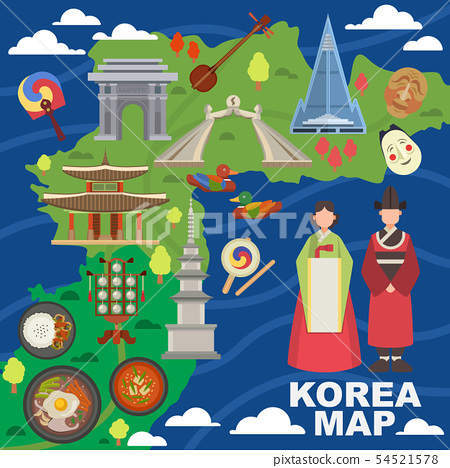 Korea map vector korean characters culture traditional symbols sightseeing landmark traveling in 54521578