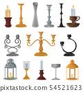 Candlestick vector candle lantern vintage candlelight lantern decoration and old candelabrum holder 54521623
