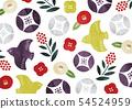 流行日本模式碗和鳥水彩 54524959