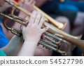 Closeup of hands on musician on trumpet   54527796