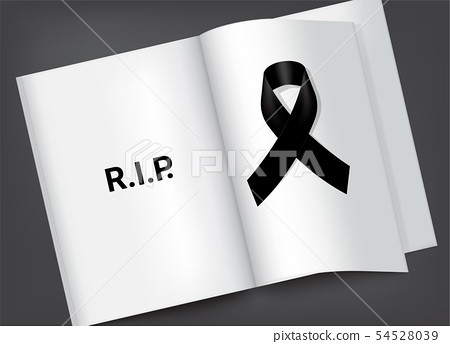 Mock up Mourning symbol with Black Respect ribbon 54528039