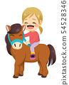 Lovely little smiling girl riding pet horse 54528346