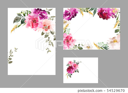 Set of watercolor cards for wedding invitations. 54529670