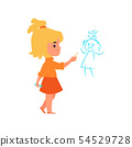 Child girl draws on the wall the kids bad behavior, vector illustration isolated. 54529728