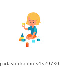 Happy kid having fun with colorful blocks, little girl doing child development and education 54529730
