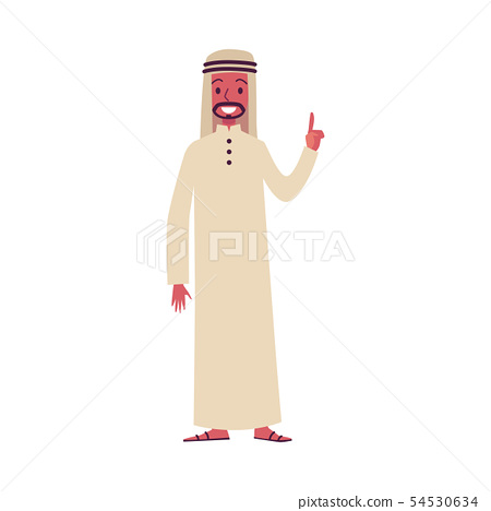 Arab man oriental characters in traditional Muslim clothes. 54530634