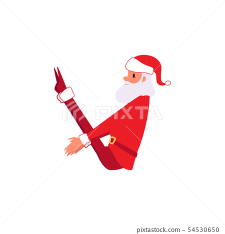 Santa Claus in yoga exercise pose - Christmas cartoon character in winter Xmas holiday clothes doing 54530650
