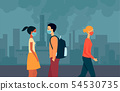 People of mixed races, men and women walk in masks around the city with polluted air. 54530735