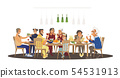 Big family dinner around table with food, many people eating a meal and talking together 54531913