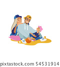 Happy cartoon family in sport clothes sitting and smiling, young healthy people having fun together 54531914