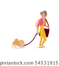 Cute girl walking her pet dog, beautiful woman with domestic animal on a leash 54531915
