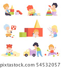 Cute Little Kids Playing with Toys Set, Toddler Boys and Girls Playing with Pyramid, Blocks, Car 54532057