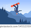 Snowboarder in the jump on the mountain background flat vector illustration. 54532359