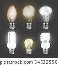 WebSet of realistic electric light bulbs, different types of glass or fluorescent lightbulbs 54532550