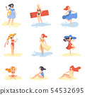 Collection of Beautiful Girls Relaxing on Beach, Young Women on Summer Vacation Vector Illustration 54532695