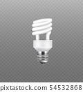 Realistic energy saving lamp and white light bulb. 54532868