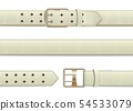 Open and closed white leather belt with metal buckle. 54533079
