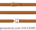 Buttoned, open and closed brown leather belt with metal buckle. 54533085
