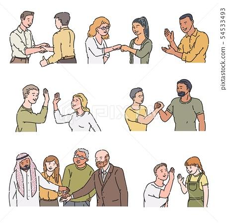 Cartoon characters doing positive gestures - handshake, high five, applause, fist bump 54533493