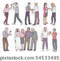 Set of standing people with greeting and showing respect gestures sketch style 54533495