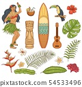 Hawaiian tropical vacation icons set vector isolated on white background. 54533496