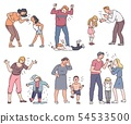 Set of angry parent with emotional child 54533500