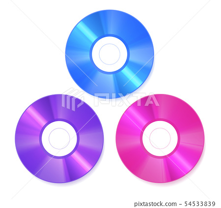 Top view Monochrome color CD disk on white, vector 54533839
