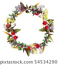 Colorful wreath with herbs and flowers 54534290