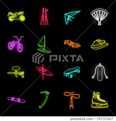 Extreme sport neon icons in set collection for design.Different kinds of sports vector symbol stock 54535987