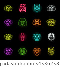 Dog breeds neon icons in set collection for design.Muzzle of a dog vector symbol stock web 54536258
