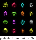 Different kinds of coffee neon icons in set collection for design. Coffee drink vector symbol stock 54536260