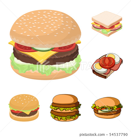 Isolated object of sandwich and wrap logo. Set of sandwich and lunch stock symbol for web. 54537790