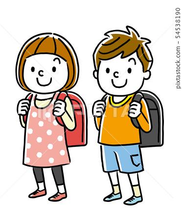 小學男孩和女孩 54538190