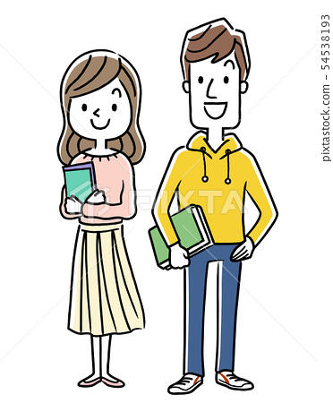 微笑的男人和女人,大學生,學生 54538193