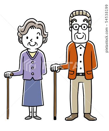 拿著藤莖的老人和資深婦女 54538199