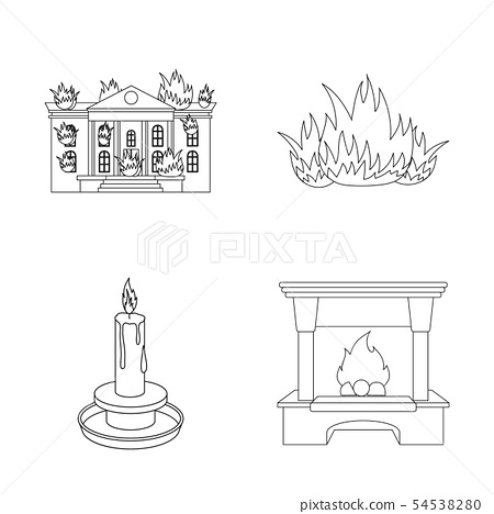 Isolated object of fire and flame symbol. Collection of fire and fireball stock symbol for web. 54538280