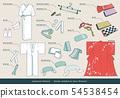 기모노 관련 항목 (입기에 필요한 소품)의 벡터 세트 54538454