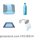 Isolated object of water and drop symbol. Collection of water and splash vector icon for stock. 54538914
