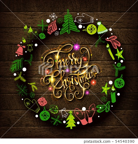 Merry Christmas gold text for card 54540390